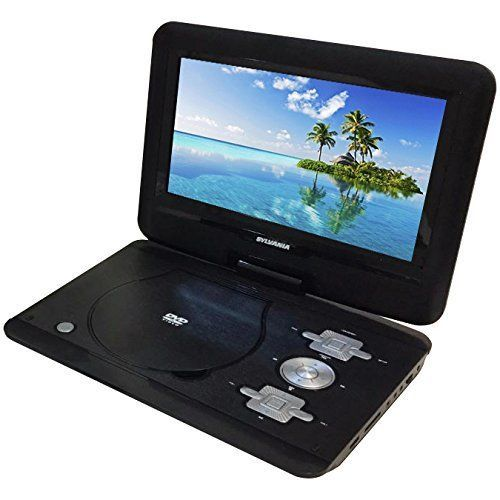 Sylvania 10-Inch Portable DVD Player with Swivel Screen & Car Adapter in Black