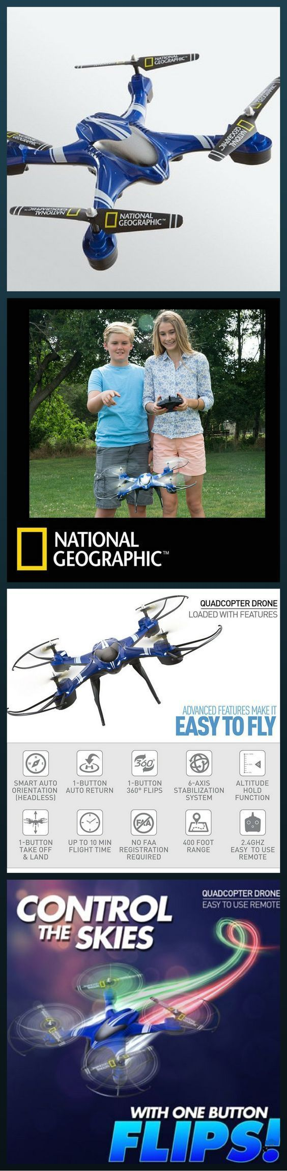 National Geographic Drone, Quadcoptor- Easy to use - With a kid-friendly design (age 14+) and an easy to use remote, our quad drone is great for novice pilots Auto-orientation and 1-button controls allow you to take-off, land and perform 360-degree flips, while built-in speed settings offer maneuverability and control