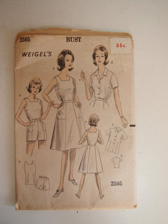Vintage 1960s Weigel's two blouses shorts by VintageTwistsPattern, $10.00