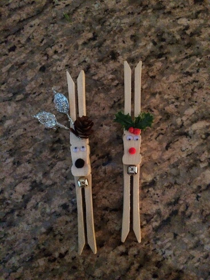 clothes pin reindeer ( 2 clothes pins, glue, eyes, small Pom Pom, bell, small pine cone,or holly)