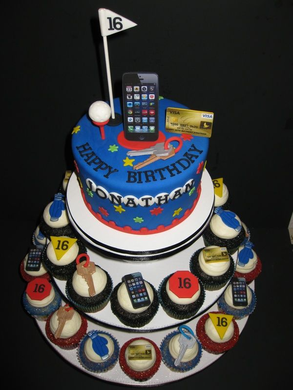 16th birthday cakes for boys | Cake iced in vanilla butter cream then covered in fondant with hand ...