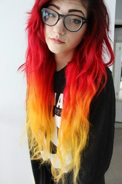 black roots red to orange & yellow ombre grunge hipster ...