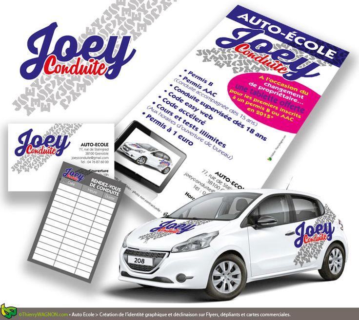 Une identité graphique complète pour le démarrage de Joey Conduite, Auto-Ecole à Grenoble. Création du logo et des cartes commerciales avec prise de rendez-vous au verso. Conception et réalisation des flyers, de la décoration des véhicules et de la façade de l'établissement.
