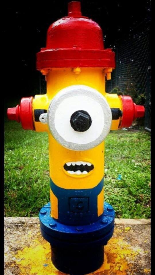 Minion fire hydrant   street art