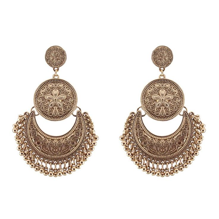 Vintage Gold Silver Drop Earrings for Women Bohemian Long Earring Bijoux Femme Love Ethnic Alloy Tassels Earings Indian Jewelry