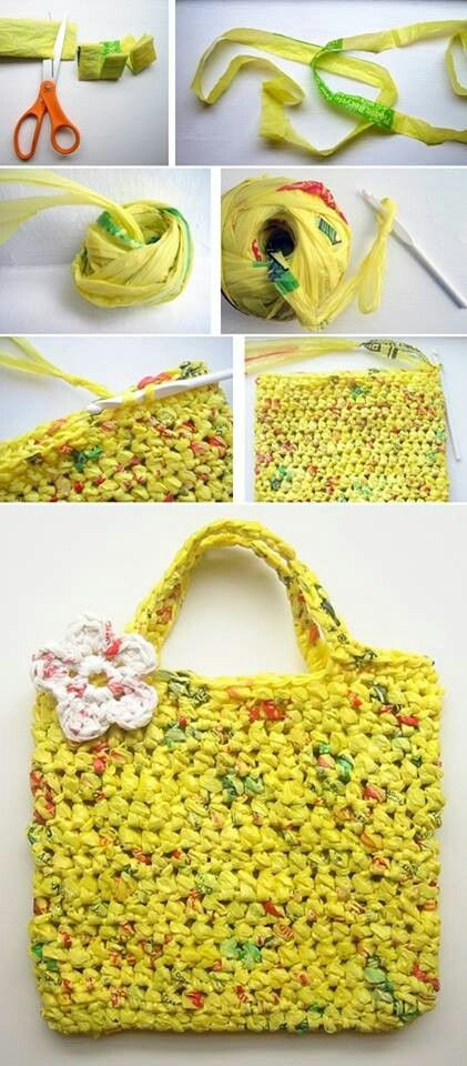 How to make a bag from plastic bags