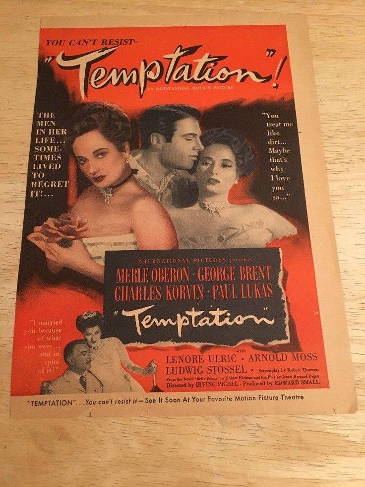 """Vintage 1946  """"TEMPTATION"""" Movie Ad -  Merle Oberon, George Brent, Paul Lukas"""