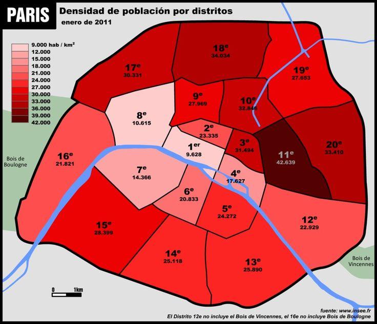 Une carte montrant les densités de population par arrondissement.   19 cartes qui vont vous faire voir Paris différemment