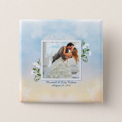 Elegant Add Your Own Photo Wedding Pin Button - anniversary cyo diy gift idea presents party celebration