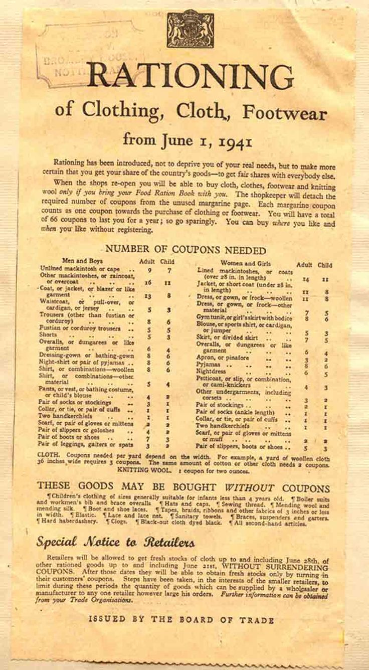 Rationing for clothing, cloth, and footwear from June 1, 1941. #vintage #1940s #WW2