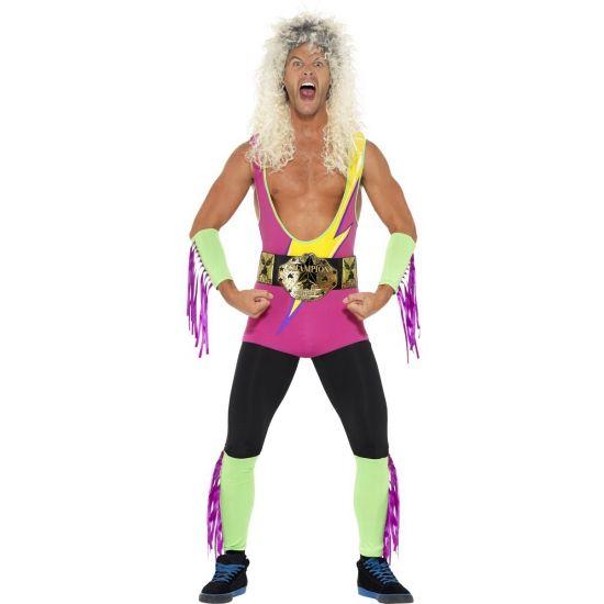 Worstelaars kostuum voor heren. Retro worstelaar bodysuit voor mannen inclusief riem. Carnavalskleding 2016  #carnaval
