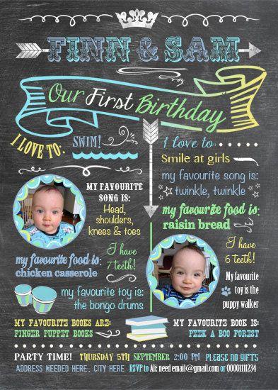 Printable Twins Firsts Birthday Invitation  by Longfellowdesigns, $18.00