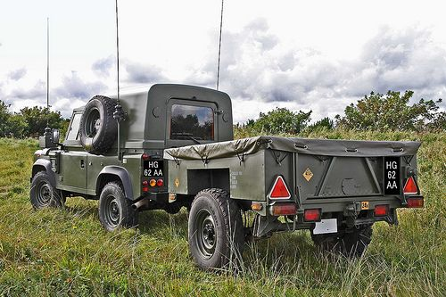 British Army 110 Wolf Land Rover and trailer