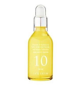 It's Skin Power 10 VC Effector is a brightening serum containing Vitamin C and green tea, which suppresses freckle formation and tightens pores.
