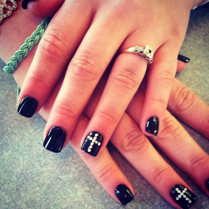 Acrylic Nail Designs With Crosses: Nails - Black With Silver Cross