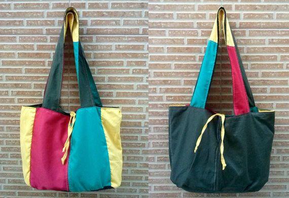 Reversible Rasta shoulder bag / Green, Yellow and red / Fabric totebag / Jamaican colors reggae weekend bag