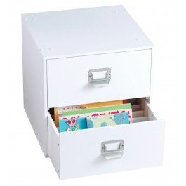 2-Drawer Organizer Cube: Modular stacking� White painted finish Includes two drawers with dividers Constructed of durable, high quality MDF fiberboard