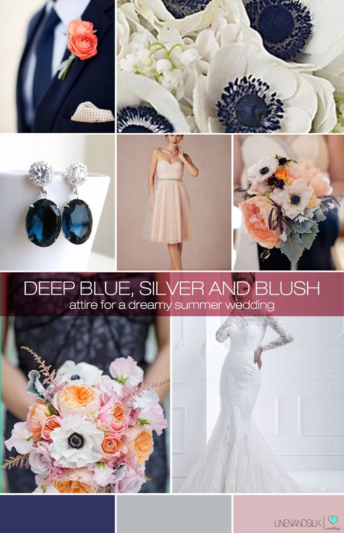 Blue, silver and blush inspiration mood board for a dreamy summer wedding