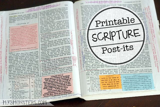 Scripture Post-Its from my3monsters.com are pages of quotes, mostly from the LDS Institute Book of Mormon manual, that can be printed onto post-it notes and stuck in your scriptures.