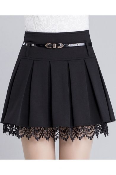 Women's Fashion Belt Waist Lace Trim A-Line Plain Pleated Mini Skirt