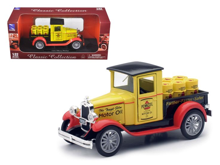 "1928 Chevrolet Pick Up Truck 'Pennzoil"" 1/32 Diecast Model by New Ray - Brand new 1:32 scale diecast model of 1928 Chevrolet Pick Up Truck 'Pennzoil"" die cast car by New Ray. Brand new box. Rubber tires. Has opening hood and doors. Made of diecast metal with some plastic parts. Detailed interior, exterior. Dimensions approximately L-4.5 inches long. Please note that manufacturer may change packing box at anytime. Product will stay exactly the same.-Weight: 1. Height: 5. Width: 9. Box Weight…"
