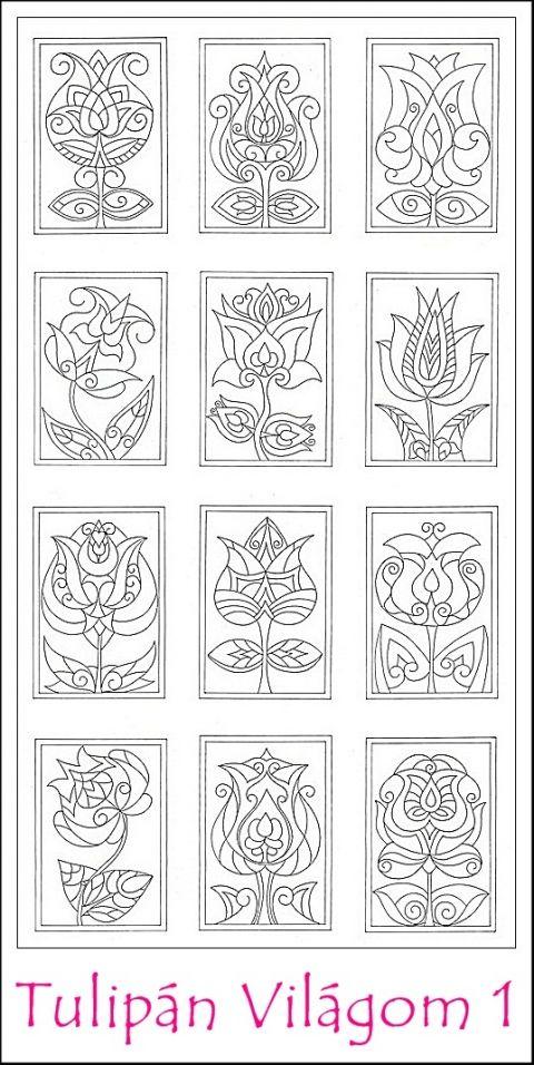 Tulipán Világom 1 színező lapok - nyomtatható, Képzőművészet , Grafika, Rajz, 12 db tulipánt rajzomat küldöm el elektronikus úton PDF formát...