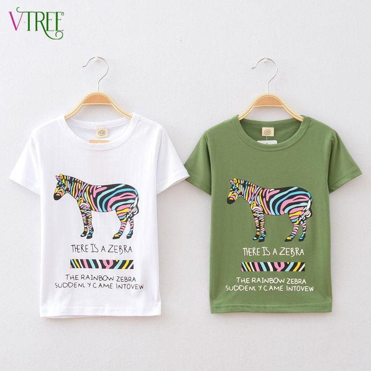 V-TREE Summer fashion children t shirts for boys girls t-shirt kids cotton short sleeve tops baby tees designer kids clothes