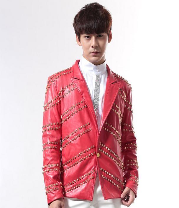 Europe singer bar Rock Punk rivets coat red leather jacket men personality performances costume jaqueta de couro 1 stage