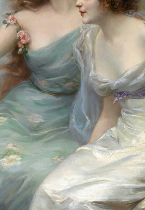 The Three Graces, oil on canvas, (1899) Edouard Bisson #Art #Detail
