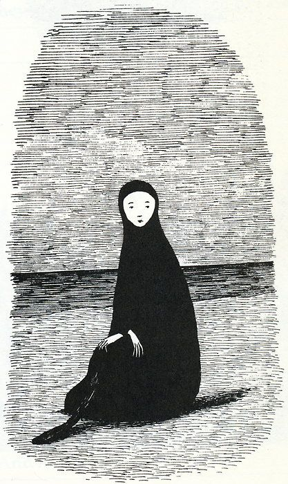 "Edward Gorey Illustration from ""Leaves from a Mislaid Album"". Reminds me of no face, spirited away:)"