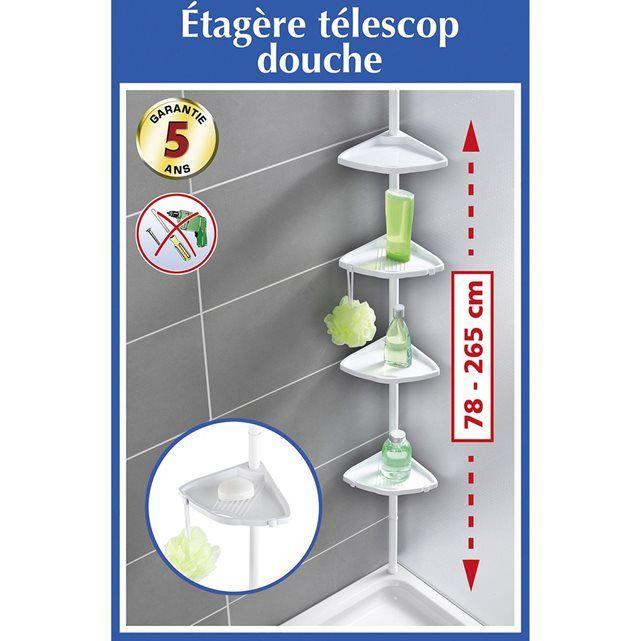 Etagère télescopique d'angle de salle de bain - Blanc WENKO
