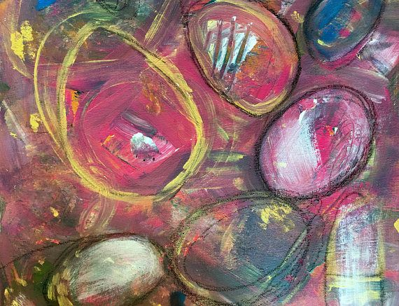 Abstract expression purple hues  painting colorful  original  on canvas Heather Murray