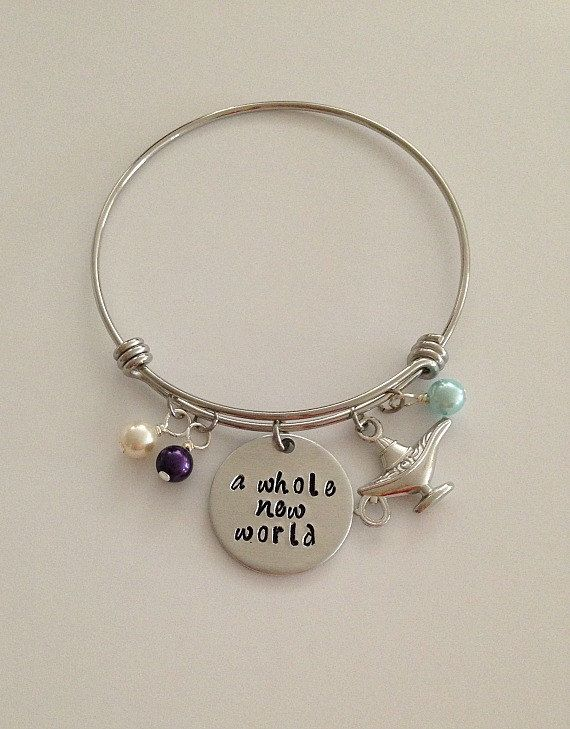 Disney Inspired Aladdin Bangle Bracelet A Whole New World Jasmine Genie Hand Stamped Jewelry Charm In 2018