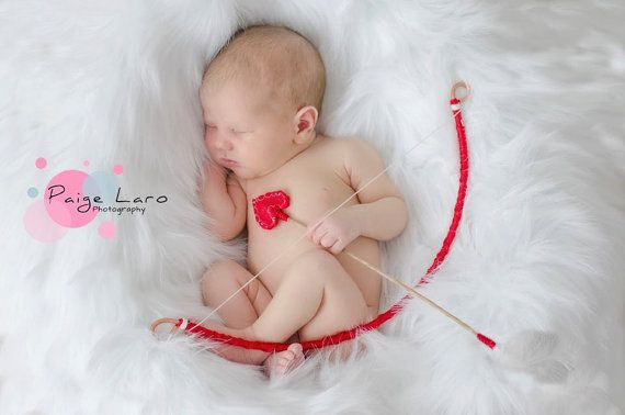 Cupid Prop Set .. archery bow and arrow set  ...photo prop for keepsake portraits - February's Child _ Valentines Day on Etsy, $14.00