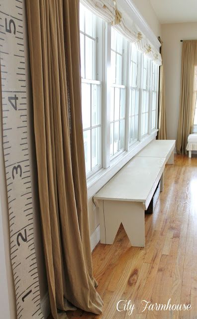 Family Room Reveal-Thrifty, Pretty & Functional - City Farmhouse Benches under windows - yes!