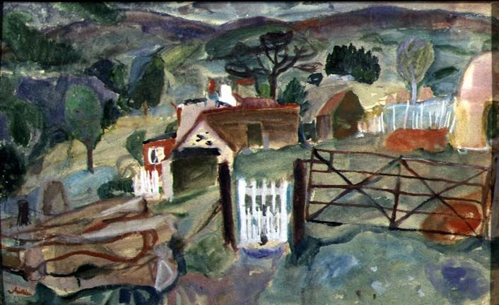 William Gillies, Crofts Near Feamham, Watercolour on Paper. The Fleming Wyfold Art Foundation.