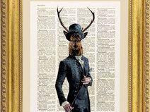 Cervo illustrazione, stampa, pagina dizionario
