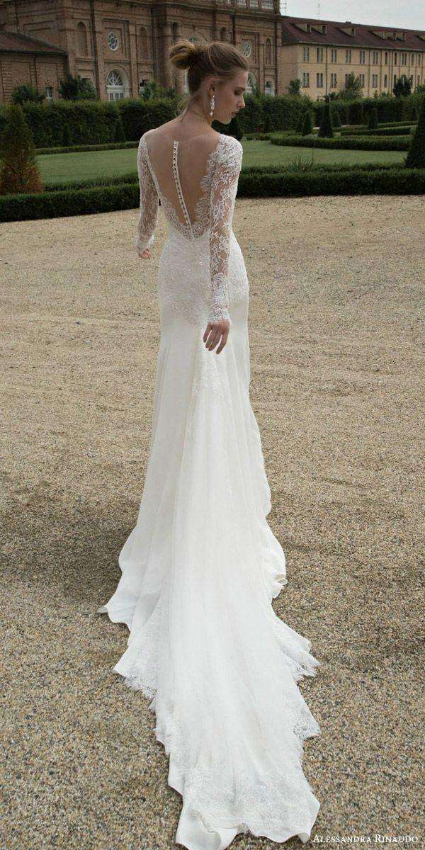 alessandra rinaudo bridal 2016 tracy illusion long sleeve wedding dress back view train