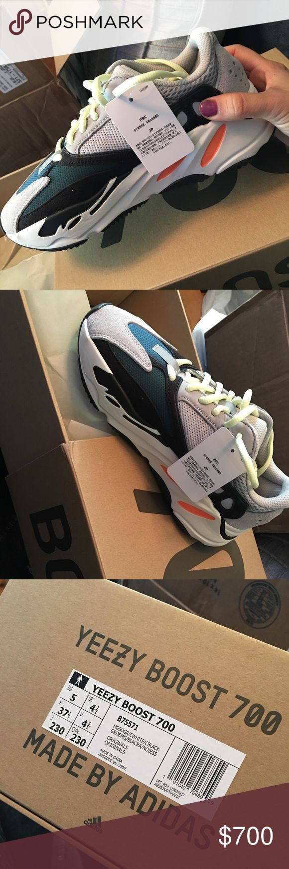 Authentic Yeezy  Boost 700 Wave Runner Authentic Yeezy Boost 700 Wave Runner for sale. Purchased off Yeezy supply website in August. 1000% authentic and brand new. Men's size 5 will fit Women's size 7. I never have purchased anything fake and these will go through authentication with Posh when purchased. Yeezy Shoes Athletic Shoes