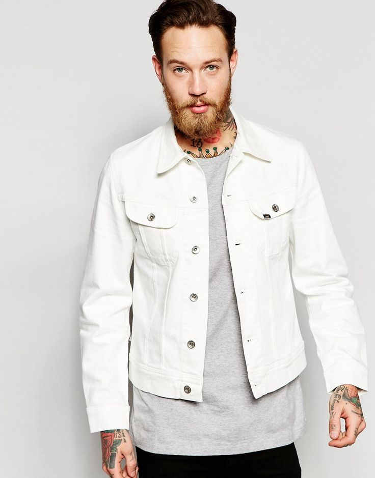Lee Denim Jacket Slim Fit Rider Clean White Fix Stretch