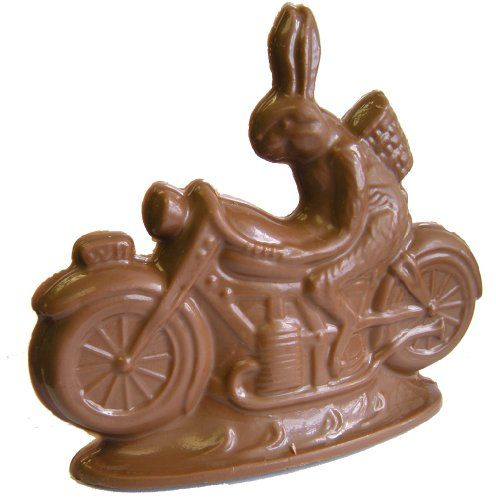 Chocolate Easter Bunny On A Motorcycle