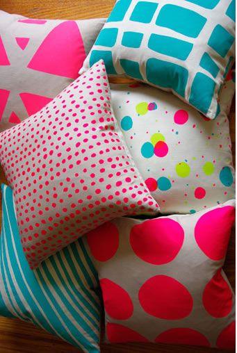 neon cushions, curio and curio