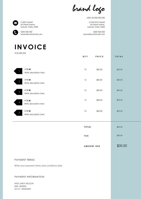 The 'Nelson' Invoice Template  Receipt  MS Word by EmandCoDesign