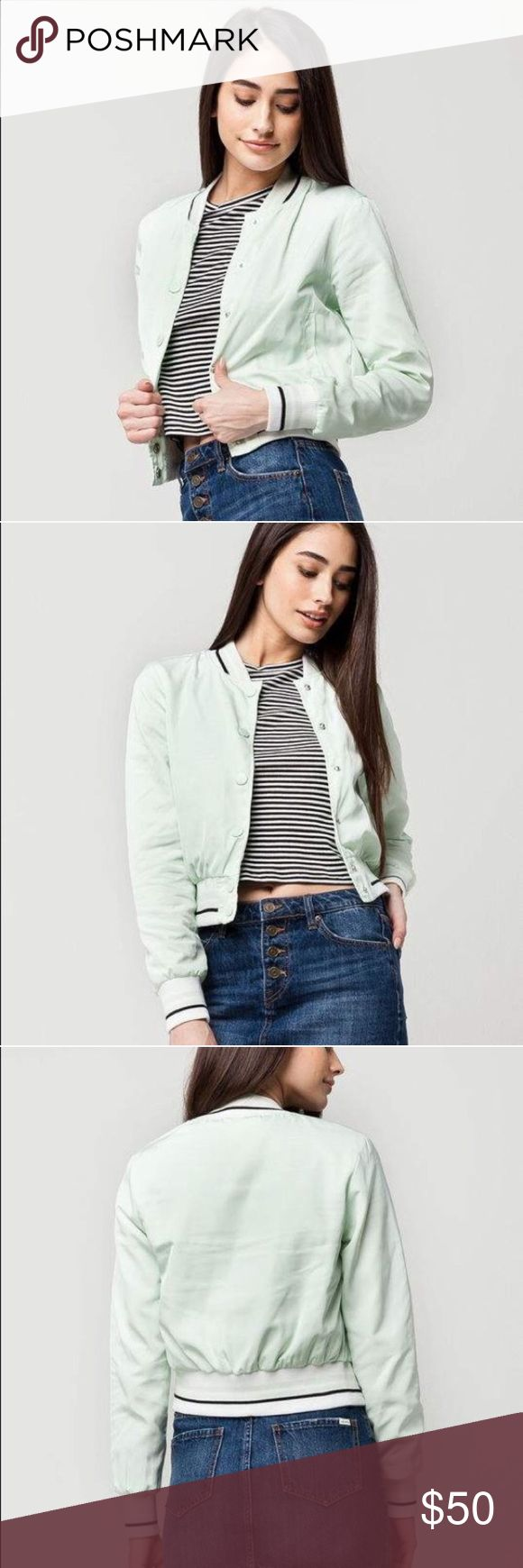 Crop stripe women's bomber jacket Crop Stripe bomber jacket. Nylon bomber with a snap button front and welt hand pockets. Rib stripe sleeve cuffs, collar, and hem. Jersey lining. 100% polyester. Machine wash. Model is wearing a size small. Model measurements:Height: 59 Bust: 34Waist: 24Hips: 34 mint seafoam F* 2.28 Jackets & Coats