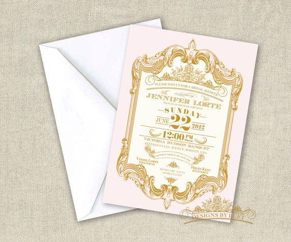 Pink and Gold Bridal Shower Mint and Gold Baroque by luetdesigns