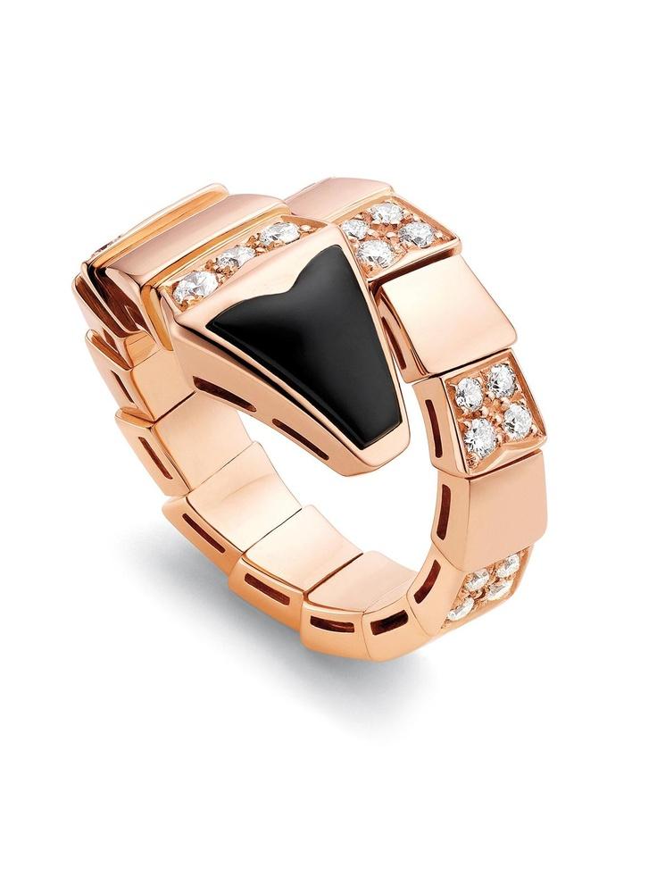 bvlgari 18k pink gold diamond and black onyx serpenti ring at london jewelers
