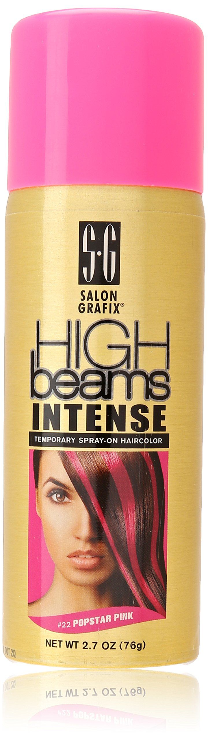 high beams Intense Temporary Spray on Hair Color, Popstar Pink #43, 2.7 Ounce. Add pizzazz to any hair design. It's the perfect tool for adding subtle color highlights or for making a bold statement. High beams intense washes away with just one shampooing, with no risk of damaging your hair color; Get ready to turn on the creativity with high beams intense temporary spray-on hair color.