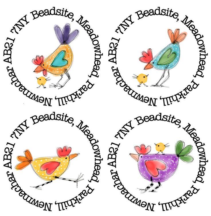 35mm round Chicken address stickers by paperspotuk on Etsy https://www.etsy.com/uk/listing/258209085/35mm-round-chicken-address-stickers