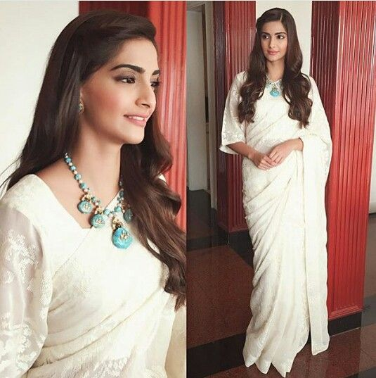 Sonam Kapoor in Payal Pratab White Saree for her movie Prem Ratan Dhan Paayo Promotions