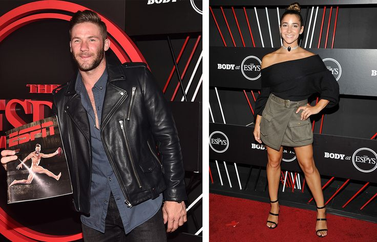 Julian Edelman and Aly Raisman at an ESPN party in Hollywood earlier this week.